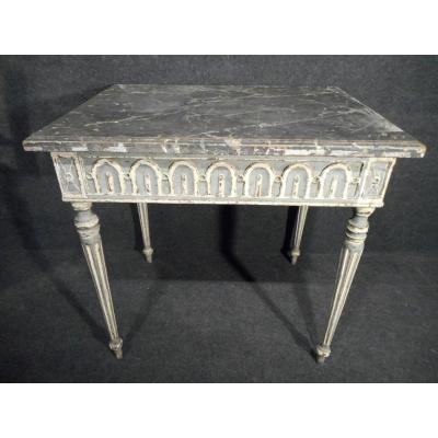 Table Directoire Period Fully Carved With Patina Of Origin Plateau Wood Imitation Mabre