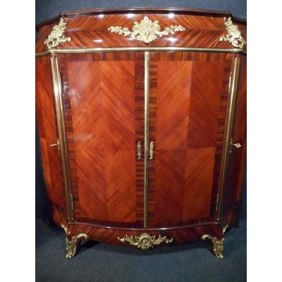 Sublime Curved Cabinet Marquetry Rosewood And Gilt Bronze Stamped Victor Raulin Époq