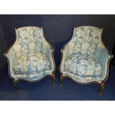 Pair Napoleon III Bergere Lacquered Doré d'Origine Retyped At Old