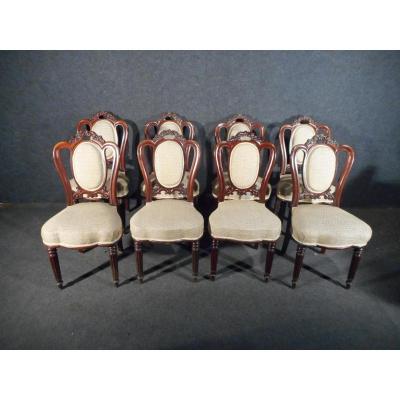 Serie De 8 Chaises En Acajou De Cuba époque XIXème