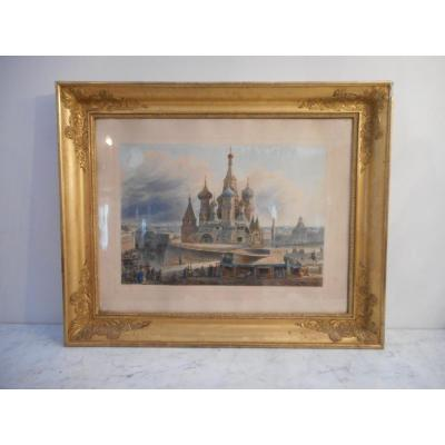 Aquarelle Place Rouge De Moscou Par Auguste Jean Baptiste Cadolle 1782-1849