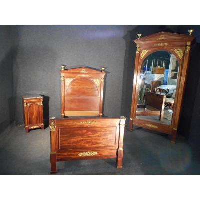 Chambre A Coucher époque XIXe En Acajou De Cuba Et Bronze Doré