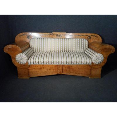 Canapé En Sycomore époque XIXème Biedermeier