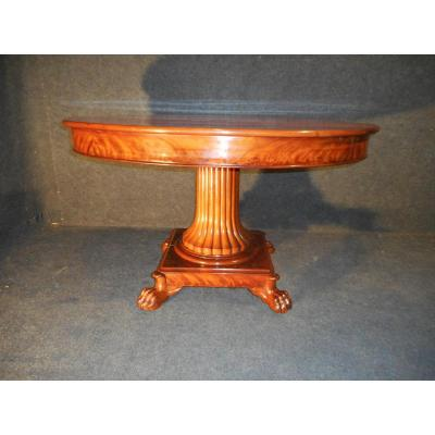 Table Central Foot In Mahogany From Cuba Empire Period Stamped