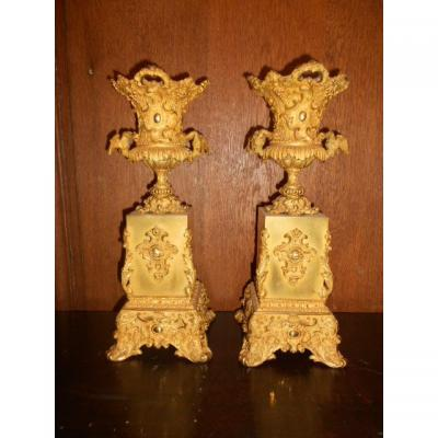 Pair Of Cassolettes XIXth Century To The Dragons In Gilded Bronze