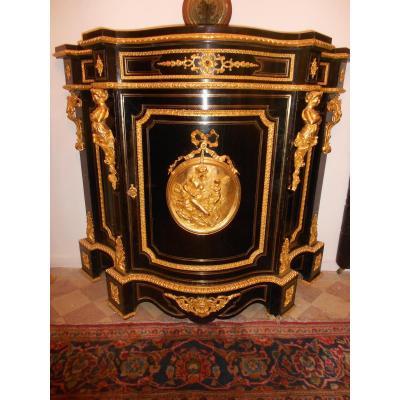 Buffet Galbé Period XIX Bronze Gilded And Black Pear