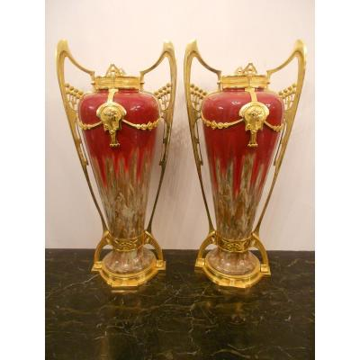 Pair Of Great Vases Art Nouveau Ceramic And Gilded Bronze