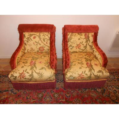 Pair Of Armchairs Buttoned Napoleon III