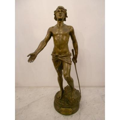 "Grand Bronze ""david"" XIXth Century Signed Adrien Etienne Gaudez"