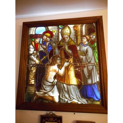 Stained Glass Window XIXth Century Signed Religious Scene