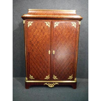 Small XIXth Wardrobe Stamped Paul Sormani In Marquetry And Gilded Bronze