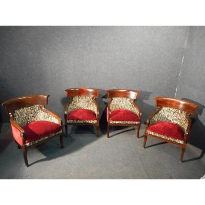 Serie Of Four Armchairs Consulate Napoleon III
