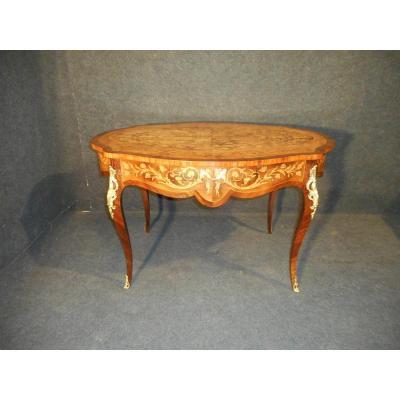 Table Guéridon Centrale En Marqueterie Et Bronze Doré époque XIXe