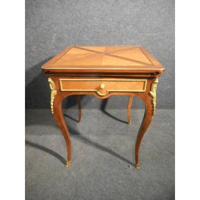 Table A Jeu Dite Mouchoir époque XIXe En Marqueterie Et Bronze Doré
