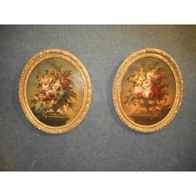 Paire Huile Sur Toile Bouquet De Fleurs époque Début XIXème