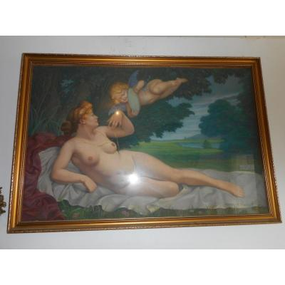 Grand Pastel Signed Pierre J Meulenaere