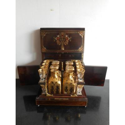 Liqueur Cellar Boulle Marquetry Nineteenth Time With Glassware Baccarat