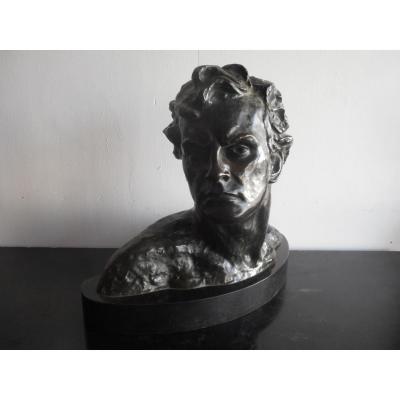 Statue En Bronze Jean Mermoz époque Art Deco Signé Alexandre Ouline