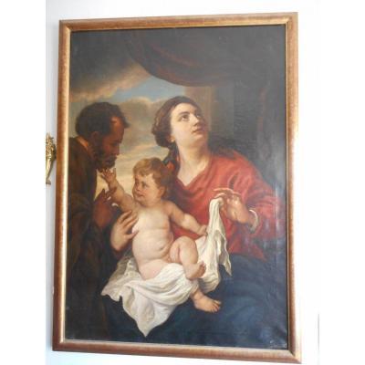 Grand Tableau Hst époque XIXème signé Scène Femme Et Enfant