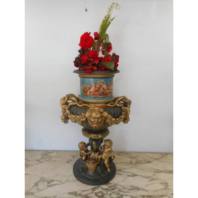 Centre De Table époque XIXème En Bronze Doré Et Porcelaine Scènes Enfants
