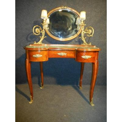 Art Nouveau Period Dressing Table Mahogany And Gilt Bronze