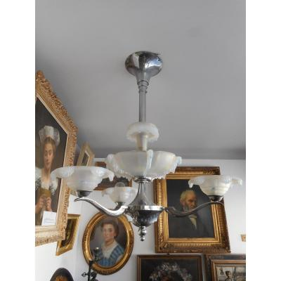 Chandelier Art Deco Bronze Silver And Opalescent Glass