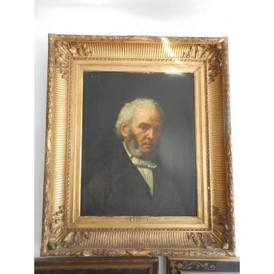 Portrait époque XIXe Huile Sur Bois signé