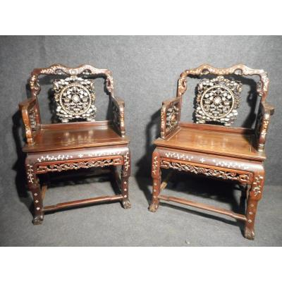 Pair Of Armchairs Apparat Chinese Nineteenth End Wood In Iron And Nacre