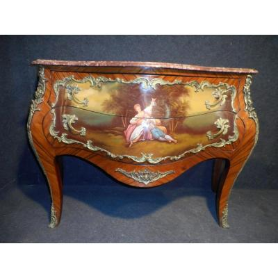 Curved Dresser Vernis Martin In Marquetry And Gilt Bronze