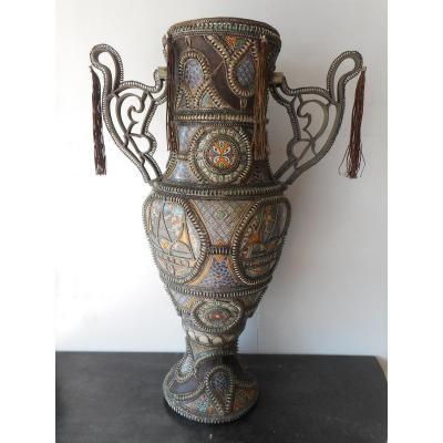 Immense Vase En Faience Polychrome Maroc Fes Début XXe