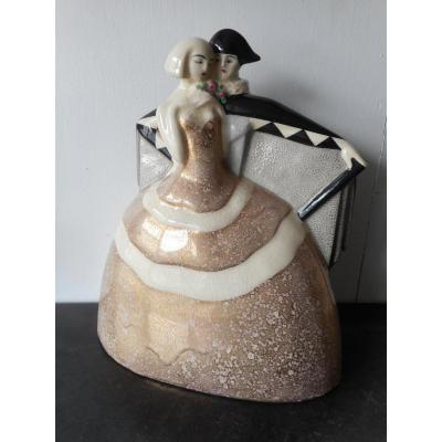 Grande Ceramique époque Art Déco Signé Gaston Deblaize 1895-1935