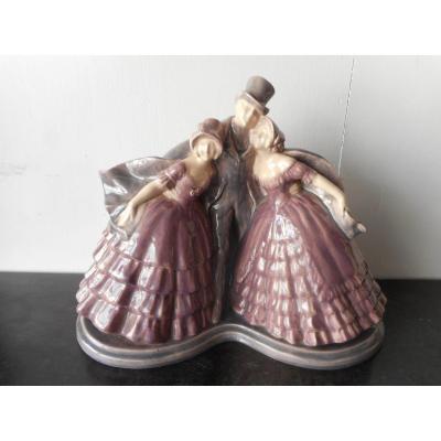Ceramique époque Art Déco Homme Et Elegantes Signé Fanny Rozet 1881-1958