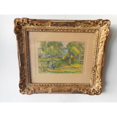 """Tableau De Jules Adler 1865-1954 Intitulé """"la Chaumière Dans Les Arbres"""" Daté 1944"""