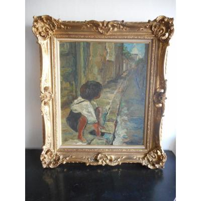 Children's Painting In Rue De Montmartre Signed Time 1940