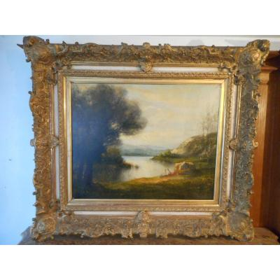 Large Table Nineteenth Time Signed Women At The Water's Edge