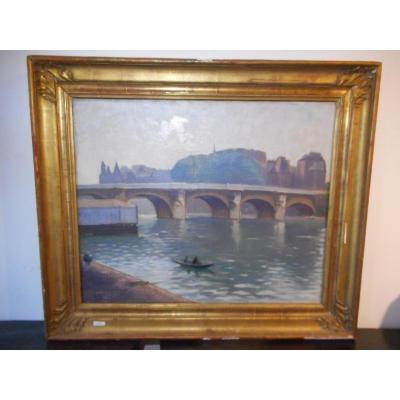 Table View Paris Bridge With Seine Edge Time Late Nineteenth