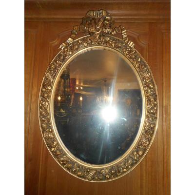 Grand Miroir Doré Ovale époque Début XIXe