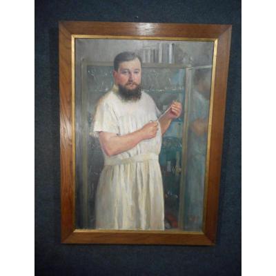 Grand tableau medecin huile sur toile signé Willem daté 1915