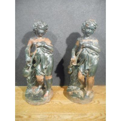 Pair Of Characters Musicians Cast Iron Nineteenth Time