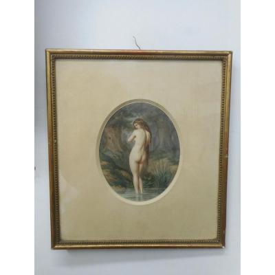 Aquarelle Femme Signé Louis Gabriel Morel-retz 1825-1899