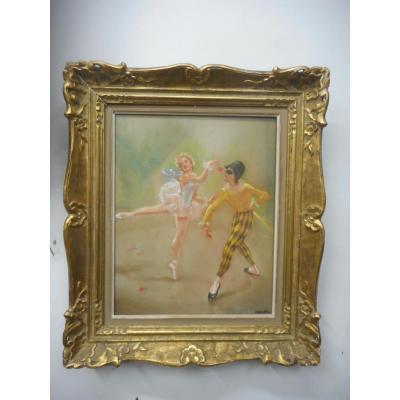 Tableau pastel danseuse et arlequin signé Menkes