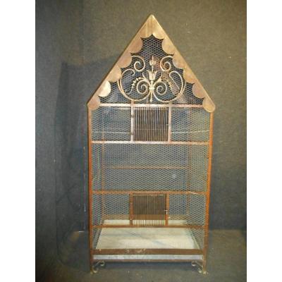 Grande cage a oiseaux époque Napoléon III fer forgé et cuivr