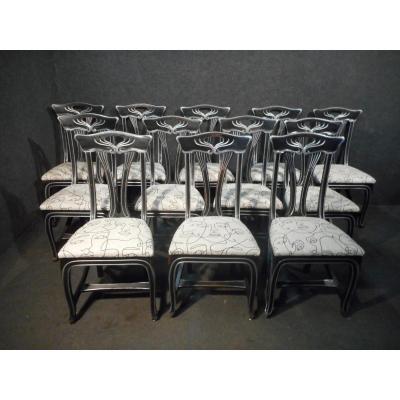 Serie De 12 Chaises Style Art Nouveau époque Millieu XXème
