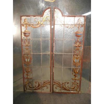 Pair Of Stained Glass Doors Art Nouveau