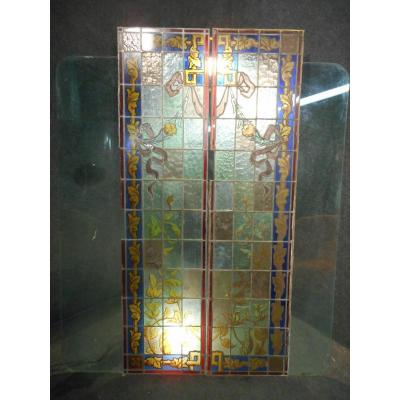 Pair Of Stained Glass Art Nouveau Periods Floral Decors