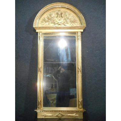 Miroir en bois doré époque fin du XVIIIe