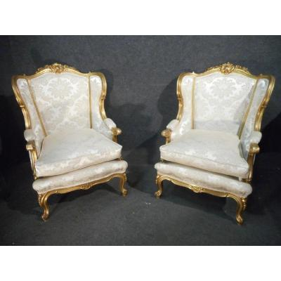Pair Of Bergères In Golden Wood Early Nineteenth Time