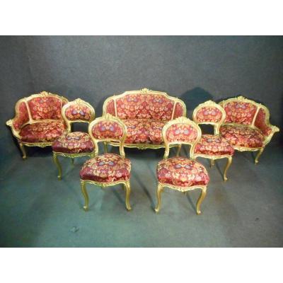 Ensemble De Salon En Bois Doré époque Napoléon III