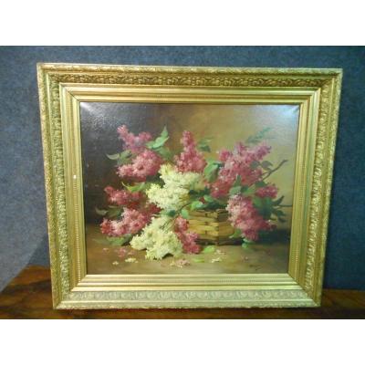 Tableau époque XIXe Bouquet De Fleurs Signé