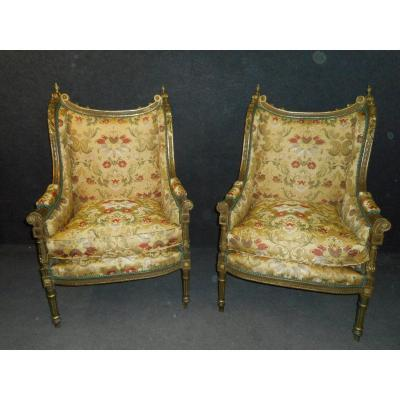Large Pair Of Bergeres Nineteenth Time In Lacquered And Gilded Wood